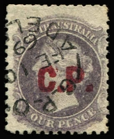 Lot 1167:Commissioner of Police Red 'C.P.' on 4d dull purple wmk 'Star' P12, Adelaide 'FE10/39' datestamp, very, fine, Rated 2R.