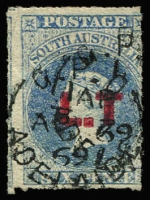 Lot 1170:Land Titles Red 'L.T' (no stop after 'T') on 6d dull ultramarine wmk Star Roulette, tall example, Adelaide 'AP/69' datestamp, Rated 2R.