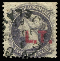 Lot 1171:Land Titles Red 'L.T.' on 4d dull purple wmk Star P12, 1868 Adelaide datestamp, Rated 2R.