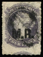 Lot 1173:Manager of Railways Black 'M.R.' on 4d violet wmk Star Roulette, oversized example, used, Rated R.