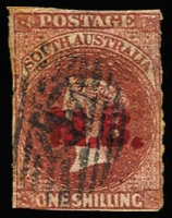 Lot 1174:Marine Board Red 'M.R.' on 1/- chestnut wmk Star Roulette, indistinct diamond numeral cancel, Rated 3R.