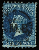 Lot 1175:Marine Board Black 'M.B.' on 6d blue Wmk Star P10x12, Port Adelaide datestamp, Rated R.