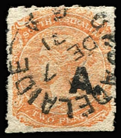 Lot 1099:Architect Black 'A.' (with stop) on 2d orange Wmk Crown/SA Roulette, 1871 Adelaide datestamp, Rated 3R.