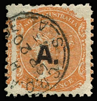 Lot 1100:Architect Black 'A.' (with stop) on oversized 2d orange Wmk Crown/SA P10, 1873 Adelaide datestamp, Rated 3R.
