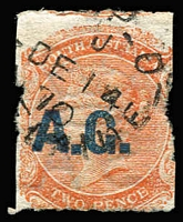 Lot 1101:Attorney-General Blue 'A.G.' on 2d orange Wmk Crown/SA Roulette, 1870 Adelaide datestamp, Rated 4R.