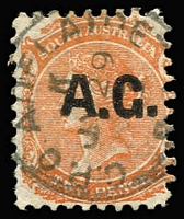 Lot 1105:Attorney-General Black 'A.G.' on 2d orange Wmk Crown/SA P10, 1873 Adelaide datestamp, Rated R.