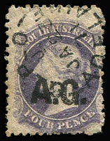 Lot 1103:Attorney-General Black 'A.G.' on 4d dull purple Wmk Star P12, 1871 Adelaide datestamp, Rated 2R.