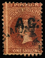 Lot 1104:Attorney-General Black 'A.G.' on 1/- red-brown Wmk Star Roulette P10, Adelaide datestamp, Rated R.