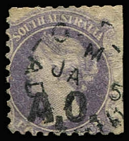 Lot 1106:Audit Office Black 'A.O.' on 4d dull purple Wmk Star P10, straight-edge at right, 1871(?) Adelaide datestamp, Rated 2R.