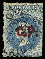 Lot 1136:Commissioner of Police Red 'C.P' on 6d dull blue Wmk Star rouletted, 1870 Adelaide datestamp, Rated 2R.