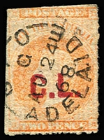 Lot 1137:Crown Lands Red 'C.L.' on 2d vermilion Wmk Star rouletted, 1868 Adelaide datestamp, Rated 3R.
