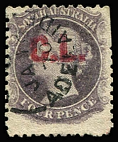 Lot 1139:Crown Lands Red 'C.L.' on 4d dull purple Wmk Star P12, few clipped perfs,1870 Adelaide datestamp, Rated 2R.