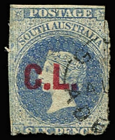 Lot 1138:Crown Lands Red 'C.L.' on 6d dull blue Wmk Star rouletted, 2mm scissor nick top right, neat Adelaide datestamp, Rated 2R.