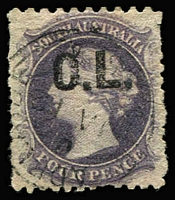 Lot 1143:Crown Lands Black 'C.L.' on 4d dull purple Wmk Star P10x12, shallow thinning at base, 1868 Adelaide datestamp, Rated 2R.