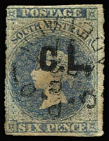 Lot 1141:Crown Lands Black 'C.L.' on 6d dull blue Wmk Star rouletted, pinhole & associated small thin, mild aging, 1871 Adelaide datestamp, Rated 4R.