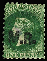 Lot 1195:Manager of Railways Black 'M.R.' on 1d green Wmk Star P10, lightly cancelled, Rated 2R.