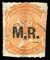 Lot 1197:Manager of Railways Black 'M.R.' on 2d vermilion Wmk Star Rouletted, 1871 datestamp, Rated 2R. [Used on Goolwa Tramway]