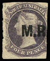 Lot 1193:Manager of Railways Black 'M.R.' on 4d dull purple Wmk Star Rouletted, trimmed rouletting, unused and very scarce thus (Rated 2R used).