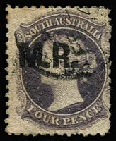 Lot 1194:Manager of Railways Black 'M.R.' on 4d dull purple Wmk Star P12, 1874 datestamp, Rated 2R.