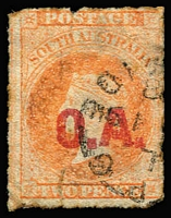 Lot 1207:Official Assignee Red 'O.A.' on 2d vermilion Wmk Star Rouletted, 6mm closed tear at bse,1868 Adelaide datestamp, Rated R.