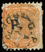 Lot 1212:Police Black 'P.' on 2d vermilion Wmk Crown/SA P10xRoulette, 1870 Adelaide datestamp, Rated 2R.