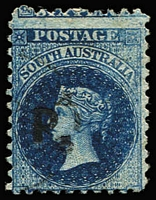 Lot 1213:Police Black 'P.' on 6d blue Wmk Star P10, lightly used, Rated 2R.
