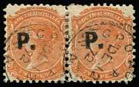 Lot 1210 [2 of 3]:Police Black 'P.' on 2d vermilion/orange-red Wmk Crown/SA Rouletted, P10 or P12x10 pairs. (3 items)
