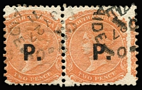 Lot 1210 [3 of 3]:Police Black 'P.' on 2d vermilion/orange-red Wmk Crown/SA Rouletted, P10 or P12x10 pairs. (3 items)