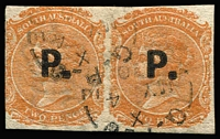 Lot 1210 [1 of 3]:Police Black 'P.' on 2d vermilion/orange-red Wmk Crown/SA Rouletted, P10 or P12x10 pairs. (3 items)
