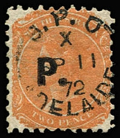 Lot 1211 [2 of 4]:Police Black 'P.' on 2d vermilion/orange-red Wmk Crown/SA Rouletted & P10 singles, P12x10 pair plus Wmk V/Crown marginal single. (4 items)