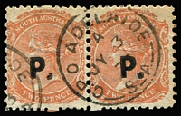 Lot 1211 [3 of 4]:Police Black 'P.' on 2d vermilion/orange-red Wmk Crown/SA Rouletted & P10 singles, P12x10 pair plus Wmk V/Crown marginal single. (4 items)