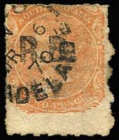 Lot 1245:Road Board Black 'R.B.' on 2d vermilion Wmk CrownSA Rouletted, 1870 Adelaide datestamp, Rated R.