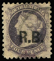 Lot 1244:Road Board Black 'R.B.' on 4d dull purple Wmk Star P10, indistinct, cancel, Rated 2R.
