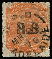 Lot 1222:Road Board Black 'R.B.' on 2d vermilion Wmk Crown/SA Rouletted, 1870 Adelaide datestamp, Rated R.