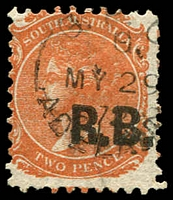 Lot 1223:Road Board Black 'R.B.' on 2d vermilion Wmk V/Crown P10, 1872 Adelaide datestamp, Rated 2R.