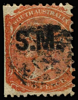Lot 1229:Stipendary Magistrates Black 'S.M.' on 2d orange-red Wmk Crown/SA P12x10, straight edge at left, indistinct cancel, Rated 2R.