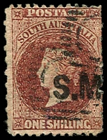 Lot 1227:Stipendary Magistrates Black 'S.M.' on 1/- red-brown Wmk Star P12xRoulette, Adelaide dumb cancels, Rated 2R.