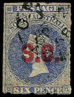 Lot 1230:Supreme Court Red 'S.C.' on 6d ultramarine Wmk Star Rouletted, 1868 Adelaide datestamp, Rated 3R.