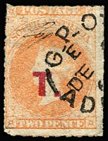 Lot 1283:Treasury Red 'T.' on 2d vermilion Wmk Large Star Rouletted, tidy Adelaide datestamp, Rated 3R.