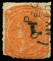 Lot 1243:Treasury Black 'T.' on 2d vermilion Wmk Large Star Rouletted, Adelaide datestamp, Rated R.