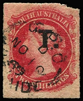 Lot 1277:Treasury Black 'T.' on 2/- rose-carmine Wmk Large Star Rouletted, 1869 Adelaide datestamp, Rated R.