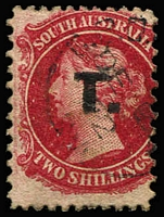 Lot 1236:Treasury Black 'T.' on 2/- rose-carmine Wmk Large Star P12x10, undersized example, 1872 Adelaide datestamp, Rated R.