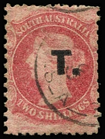 Lot 1235:Treasury Black 'T.' on 2/- rose-pink Wmk Large Star P12x10, tidy datestamp cancel, Rated R.