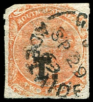 Lot 1241:Treasury Black 'T.' on 2d vermilion Wmk Crown/SA Rouletted, 1869 Adelaide datestamp, Rated R.