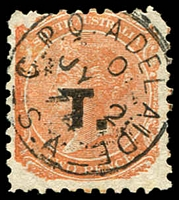 Lot 1242:Treasury Black 'T.' on 2d vermilion Wmk V/Crown P10, marginal example, 1874 Adelaide datestamp, Rated S.