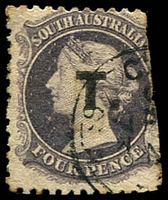 Lot 1238:Treasury Black 'T.' on 4d dull purple Wmk Large Star P12 cut-into/straight edge at right, 1873 Adelaide datestamp, Rated R.
