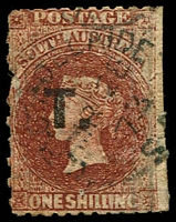 Lot 1237:Treasury Black 'T.' on 1/- red-brown Wmk Large Star P12xRoulette, edge blemishes & small 3mm nick at lower right 1873 Adelaide datestamp, Rated 2R.