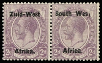 Lot 1659:1923 KGV 1923 KGV 2d dull purple pair bilingual opt Setting I, right-hand unit overprint variety 'Wes' for 'West' SG #3b, left-hand unit Short left leg in 'A' of 'Afrika', fine mint, Cat £325++.