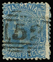 Lot 549:1870-71 Sideface Wmk Single-Lined Numeral Perf 12 4d blue SG #130, key value, fine used. Cat £475.