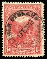 Lot 1242:Beulah Lower: (A1) fine and complete Type 2ac 'LOWER BEULAH/1FE1913/TASMANIA' datestamp on 1d Pictorial. [Rated 3R-].  PO 1/1/1904; closed 31/3/1971.